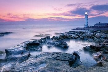 Skleněný Obraz Maják na břehu moře