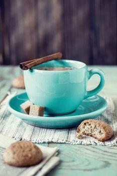 Skleněný Obraz Modrý šálek kávy se zákuskem