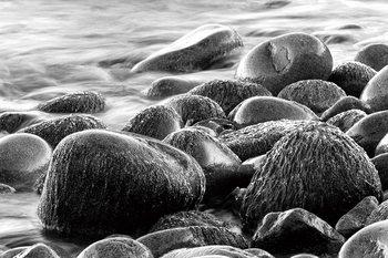 Skleněný Obraz Moře - Šedé kameny