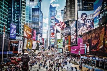 Skleněný Obraz New York - Barevné Times Square
