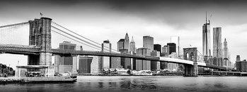 Skleněný Obraz New York - Brooklyn Bridge a Manhattan