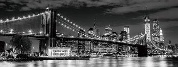 Skleněný Obraz New York - Brooklyn Bridge v noci