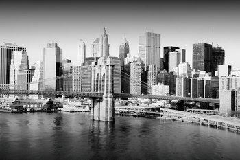 Skleněný Obraz New York - Město b&w