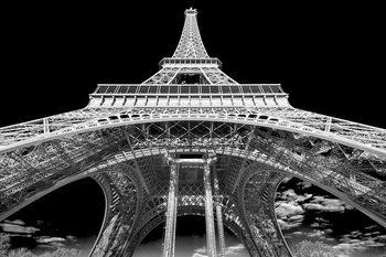 Skleněný Obraz Paříž - Eiffelova věž b&w