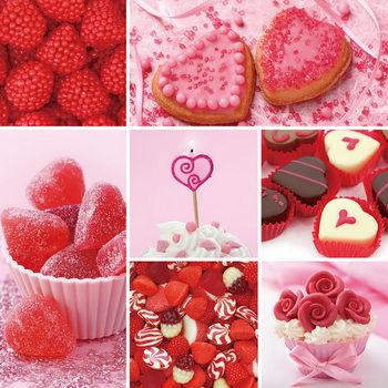 Skleněný Obraz Srdce - Červená koláž
