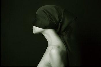 Skleněný Obraz Žena umění - Černobílá silueta