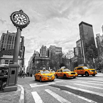 Skleněný Obraz Žluté taxi - b&w