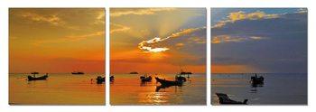 Small boats at sunset Modern tavla