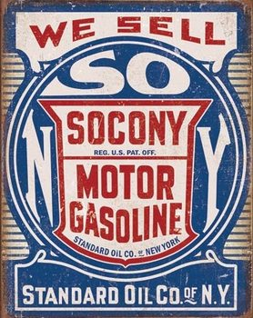 Socony Gasoline Metalen Wandplaat
