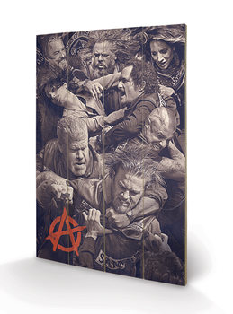 Poster su legno Sons of Anarchy - Fight