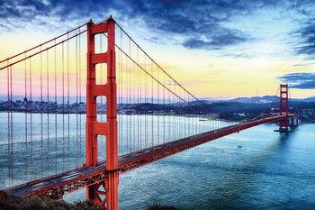 San Francisco - Sunny Golden Gate Staklena slika