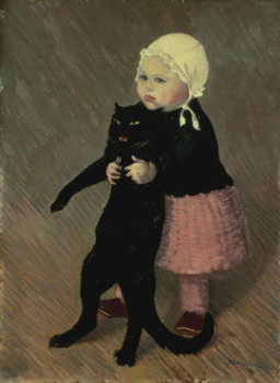 Stampa su Tela A Small Girl with a Cat, 1889