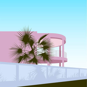 Stampa su Tela Art Deco Beach House