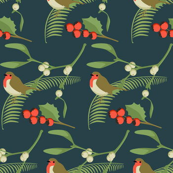 Stampa su Tela Christmas Robin