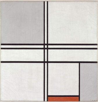Stampa su Tela Composition (No. 1) Gray-Red