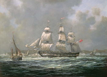 Stampa su Tela East Indiaman H.C.S. Thomas Coutts off the Needles, Isle of Wight