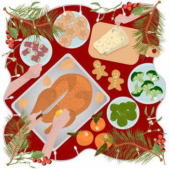 Stampa su Tela Festive Food