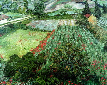 Stampa su Tela Field with Poppies, 1889