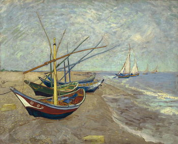 Stampa su Tela Fishing Boats on the Beach at Saintes-Maries-de-la-Mer, 1888