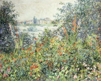 Stampa su Tela Flowers at Vetheuil; Fleurs a Vetheuil, 1881