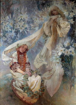 Stampa su Tela La Madonna au Lys Painting by Alphonse Mucha  1905 Private Collection