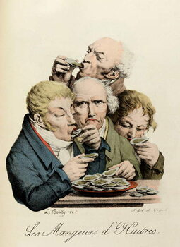 Stampa su Tela Oyster Eaters Engraving by Louis-Leopold Boilly