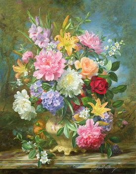 Stampa su Tela Peonies and mixed flowers