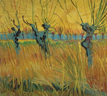 Stampa su Tela Pollarded Willows and Setting Sun, 1888
