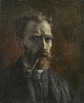 Stampa su Tela Self-portrait with pipe, 1886
