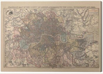 Stampa su Tela Stanfords - Map of the County of London