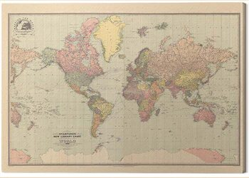 Stampa su Tela Stanfords - New Library Chart of the World