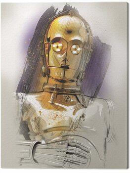 Stampa su Tela Star Wars The Last Jedi - C - 3PO Brushstroke