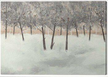 Stampa su Tela Stuart Roy - Silver Trees on White