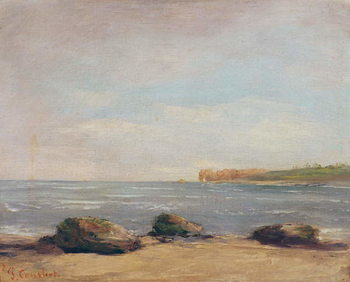 Stampa su Tela The Beach at Etretat, 1872