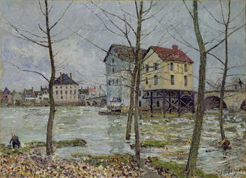 Stampa su Tela The Mills at Moret-sur-Loing, Winter, 1890