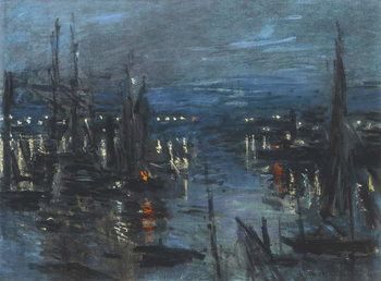 Stampa su Tela The Port of Le Havre, Night Effect; Le Port de Havre, effet du Nuit, 1873