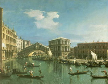 Stampa su Tela The Rialto Bridge, Venice