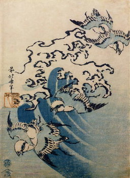 Stampa su Tela Waves and Birds, c.1825