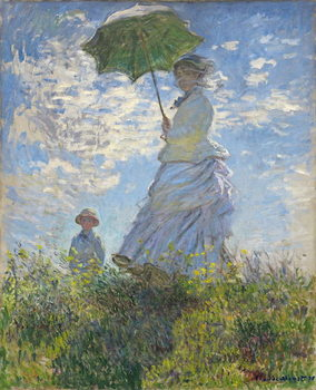 Stampa su Tela Woman with a Parasol - Madame Monet and Her Son, 1875