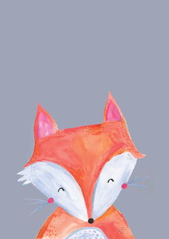 Stampa su Tela Woodland fox on grey