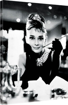 Stampa su Tela Audrey Hepburn - Breakfast at Tiffany's B&W