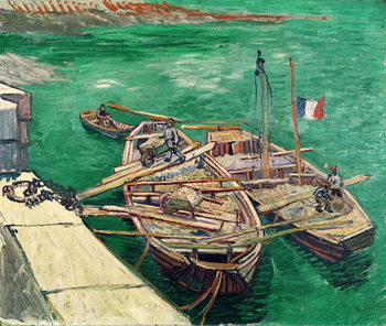 Stampa su Tela Landing Stage with Boats, 1888