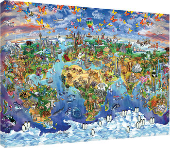 Stampa su Tela Maria Rabinky - World Wonders map