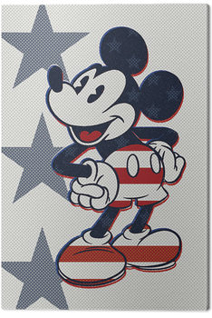 Stampa su Tela  Mickey Mouse - Retro Stars n' Stripes