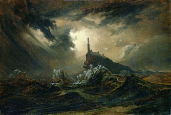 Stampa su Tela Stormy sea with Lighthouse