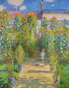 Stampa su Tela The Artist's Garden at Vetheuil, 1880