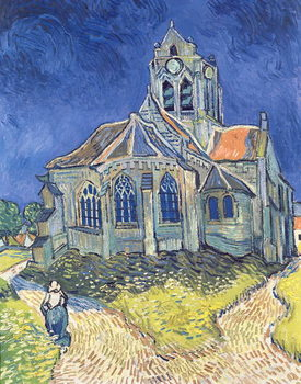 Stampa su Tela  The Church at Auvers-sur-Oise, 1890