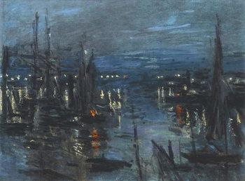 Stampa su Tela The Port of Le Havre, Night Effect; Le Port de Havre, effet du Nuit, 1873