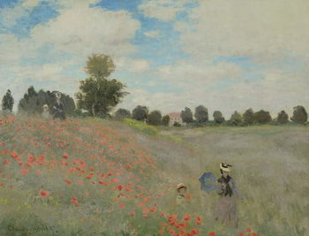 Stampa su Tela Wild Poppies, near Argenteuil (Les Coquelicots: environs d'Argenteuil), 1873