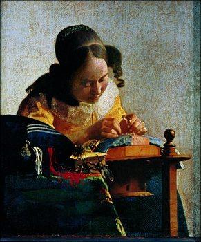 Stampe d'arte Jan Vermeer - Merlettaia